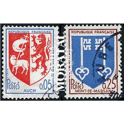 1966 France  Sc# 1142, 1144  (o) Used, Nice. Arms of Various Cities (V) (Scott)  Shield