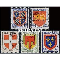 1949 Frankreich Mi# 846/850  (o) Gebrauchte, Zustand. Provinz Wappen (IV) (Michel)  Schild
