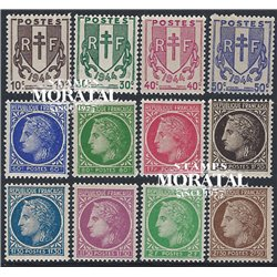1945 France  Sc# 524/530, 533/534, 536, 538, 576  * MH Nice. Type Coat Arms and Ceres (Scott)