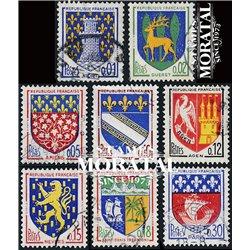 1962 Frankreich Mi# 1406/1407, 1420, 1458/1459, 1472/1473, 1497  (o) Gebrauchte, Zustand. Städtewappen (IV) (Michel)  Schild