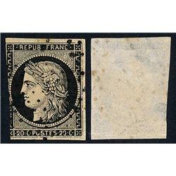 1849 France  Sc# 3  (o) Used, Nice. Type Ceres 20 c. (Scott)