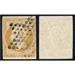 1853 France  Sc# 14  (o) Used, Nice. Emperor Napoleon III 10c. (Scott)