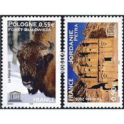 2005 France  Sc# 2O55/56  ** MNH Very Nice. UNESCO. European bison, Jordan-Petra (Scott)