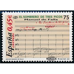 2001 Spain  Sc 3125 Manuel de Falla Music **MNH Very Nice, Mint Hever Hinged?  (Scott)