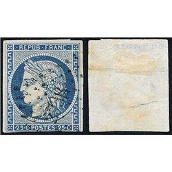1849 France  Sc# 6  0. Type Ceres 25 c. (Scott)