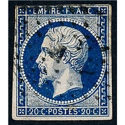 1854 France  Sc# 17  0. Emperor Napoleon III 20c. (Scott)