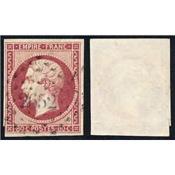 1854 France Sc 19  (o) Used, Nice. Emperor Napoleon III 80c. (Scott)