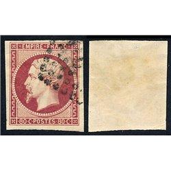 1854 France  Sc# 19  (o) Used, Nice. Emperor Napoleon III 80c. (Scott)