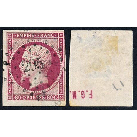 1859 France  Sc# 20  0. Emperor Napoleon III 80c. (Scott)