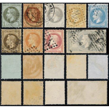 1863 France  Sc# 29/37  (o) Used, Nice. Napoleon III  Laurel (Scott)