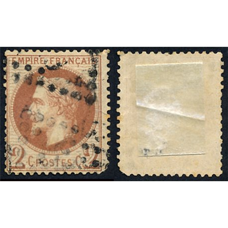 1863 France  Sc# 30  (o) Used, Nice. Napoleon III  Laurel 2c. (Scott)