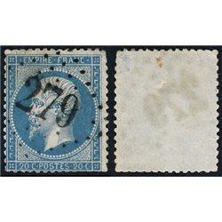 1867 Francia Yv 29A Napoleon III Laureado 20c. (I)  (o) Usado, Buen Estado  (Yvert&Tellier)