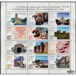2001 Spain  Sc 3130 Sheet Heritage Humanity UNESCO **MNH Very Nice, Mint Hever Hinged?  (Scott)