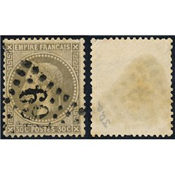 1867 France  Sc# 34  (o) Used, Nice. Napoleon III  Laurel 30c. (Scott)