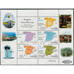 2001 Spain  Sc 3131 Sheet Ministry of Public Works  **MNH Very Nice, Mint Hever Hinged?  (Scott)