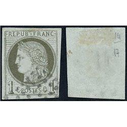1870 France  Sc# 0  0. Ceres (Bourdeaux) 1c. (Scott)