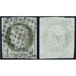 1870 France  Sc# 38  0. Ceres (Bourdeaux) 1c. (Scott)