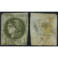 1870 France  Sc# 38  (o) Used, Nice. Ceres (Bourdeaux) 1c. (Scott)