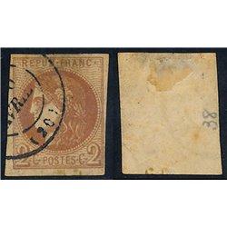 1870 France  Sc# 0  (o) Used, Nice. Ceres (Bourdeaux) 2c. (Scott)