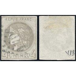 1870 France  Sc# 0  (o) Used, Nice. Ceres (Bourdeaux) 4c. (Scott)