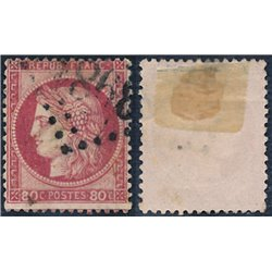 1872 France  Sc# 63  (o) Used, Nice. Ceres 80c. (Large Numerals) (Scott)