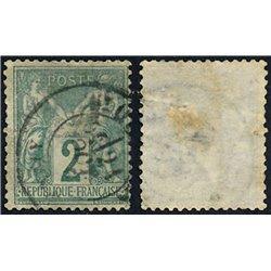 1876 France  Sc# 77  (o) Used, Nice. Sage 2c. (Scott)