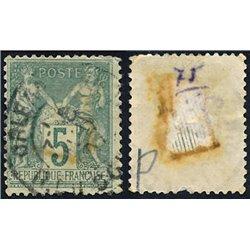 1876 France  Sc# 78  0. Sage 5c. (Scott)