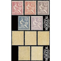 1902 France  Sc# 133/137  ** MNH Very Nice. Mouchon  Retouche (Scott)  Generic Series