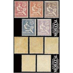 1902 France  Sc# 133/137  0. Mouchon  Retouche (Scott)  Generic Series
