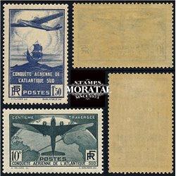 1936 France  Sc# C16/17  0. Flight across Atlantic (Scott)
