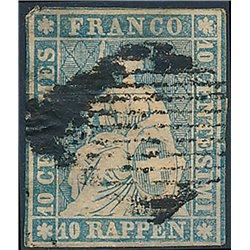 1854 - Switzerland  Sc# 37  © Used, Nice. Helvetia. Thick Ordinary Paper. Green Silk Threads (Scott)