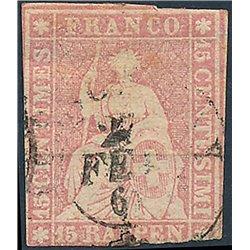 1854 - Switzerland  Sc# 38  © Used, Nice. Helvetia. Thick Ordinary Paper. Green Silk Threads (Scott)
