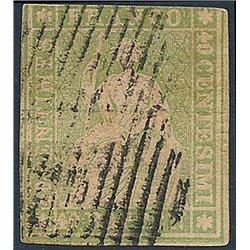 1854 - Switzerland  Sc# 40  © Used, Nice. Helvetia. Thick Ordinary Paper. Green Silk Threads (Scott)
