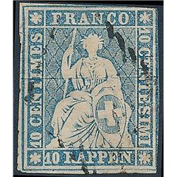 1854 - Switzerland  Sc# 26  © Used, Nice. Helvetia. Medium Thick Paper. Colored Silk Threads (Scott)