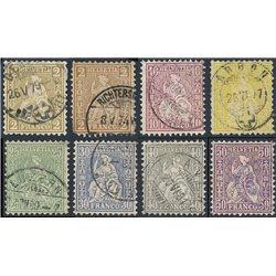 1867 - Switzerland  Sc# 52/56, 58/59  © Used, Nice. Helvetia. White Wove Paper (Scott)