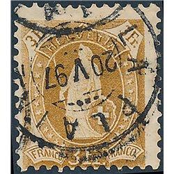 1882 - Switzerland  Sc# 88  0. Helvetia. Large  Numerals. 11 3/4 (Scott)