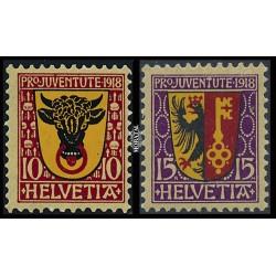 1918 - Switzerland  Sc# B10/B11  * MH Nice. Pro Juventute 18 (Scott)