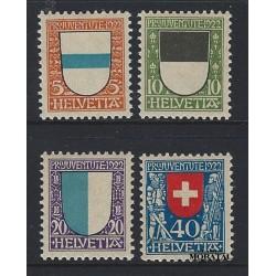 1922 - Switzerland  Sc# B21/B24  * MH Nice. Pro Juventute 22 (Scott)