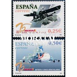 2002 España 3907/3908 75° 1er. Vuelo Iberia  **MNH Perfecto Estado  (Edifil)