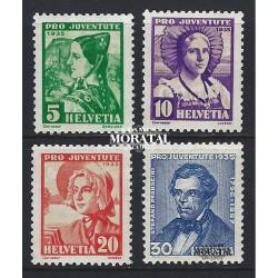 1935 - Switzerland  Sc# B73/B76  (*) MNG Nice. Pro Juventute 35 (Scott)
