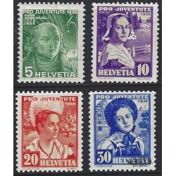 1936 - Switzerland  Sc# B81/B84  (*) MNG Nice. Pro Juventute 36 (Scott)