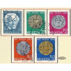 1964 - Switzerland  Sc# B334/B338  © Used, Nice. Pro Patria 64 (Scott)