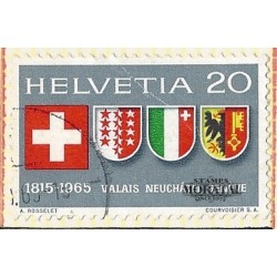 1965 - Switzerland  Sc# 466  © Used, Nice. 150th anniversary entry cantons of Swiss Confederation. (Scott)