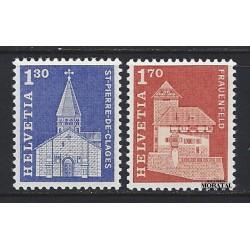 1966 - Switzerland  Sc# 449, 451  ** MNH Very Nice. Postal history motifs and architectural monuments. (Scott)