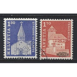 1966 - Switzerland  Sc# 449, 451  © Used, Nice. Postal history motifs and architectural monuments. (Scott)