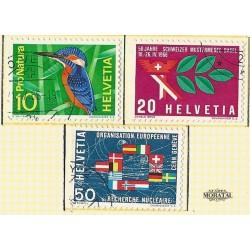1966 - Switzerland  Sc# 473/475  © Used, Nice. Years Events (Scott)