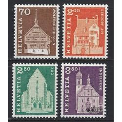 1967 - Switzerland  Sc# 446, 452, 454/455  ** MNH Very Nice. Postal history motifs and architectural monuments. (Scott)
