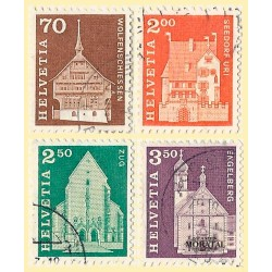 1967 - Switzerland  Sc# 446, 452, 454/455  © Used, Nice. Postal history motifs and architectural monuments. (Scott)