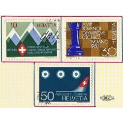 1968 - Switzerland  Sc# 487/490  © Used, Nice. Years Events & Europa 68 (Scott)