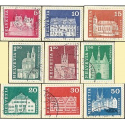 1968 - Switzerland  Sc# 440/445, 447/448, 450  © Used, Nice. Postal history motifs and architectural monuments. (Scott)
